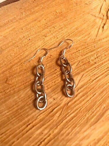 Silver Dangle Chain Earrings