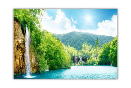 WATERFALL FOREST CANVAS PICTURES WALL ART PRINTS NATURE PHOTOS ROOM DECORATION