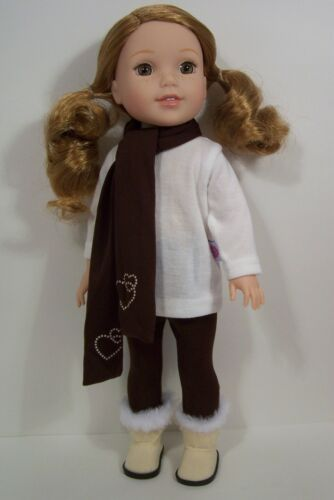 "3pc Brown LEGGINGS SCARF Cream TOP Doll Clothes For AG 14/"" Wellie Wishers Debs"