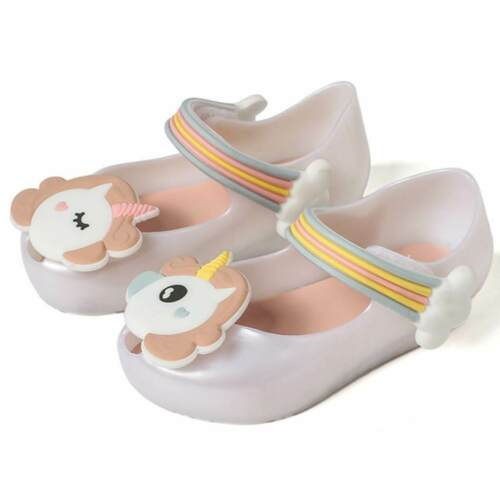 Girls Mini Melissa Sandals Summer Unicorn Jelly Shoes Kids Cute Princess Flats