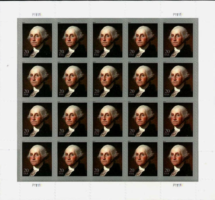 2011 20c George Washington, Sheet of 20 Scott 4504 Mint
