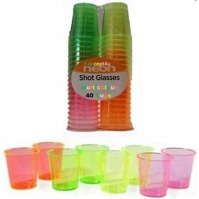 40 Disposable Neon Shot Glasses Coloured Party Jelly 30ml - 40PK Cups Hen PArty