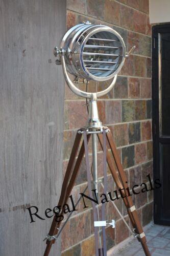 Nautical Marine Floor Search Light With Tripod  Spot Light Studio Big Lamp