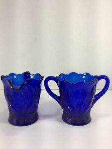 MOSSER-GLASS-DARK-COBALT-BLUE-CREAMER-amp-SUGAR-THISTLE-PATTERN