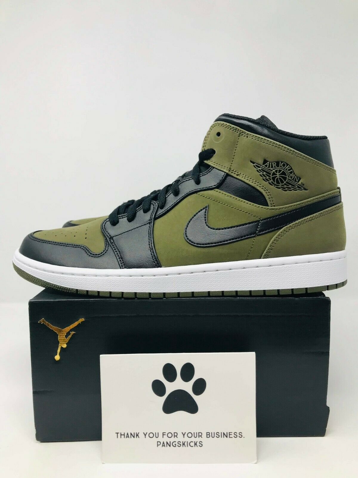 Nike Air Jordan 1 MID 'Olive Canvas' 554724-301 Size 13-14