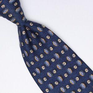 c929d8aa Details about Ermenegildo Zegna Mens Silk Necktie Navy Blue Biege Geometric  Check Print Tie