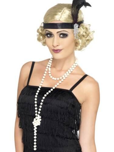 UNA TAGLIA MOLL//Flapper LINEA DONNA GANGSTER Collana di Perle anni 1920 Costume
