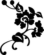 "Flower Vinyl Decals Stickers for Car or Truck (10"" x 12"" Black) Right"