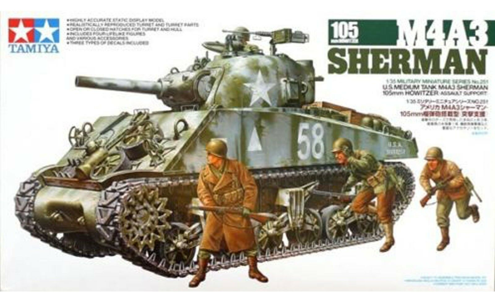 TAMIYA M4A3 SHERMAN W 105MM HOWITZER 1 35th scale