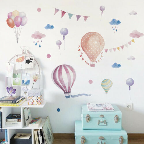 Kid Room Decor Wall Sticker HOT AIR BALLOON Nursery decal nuages Cartoon Fun Kit