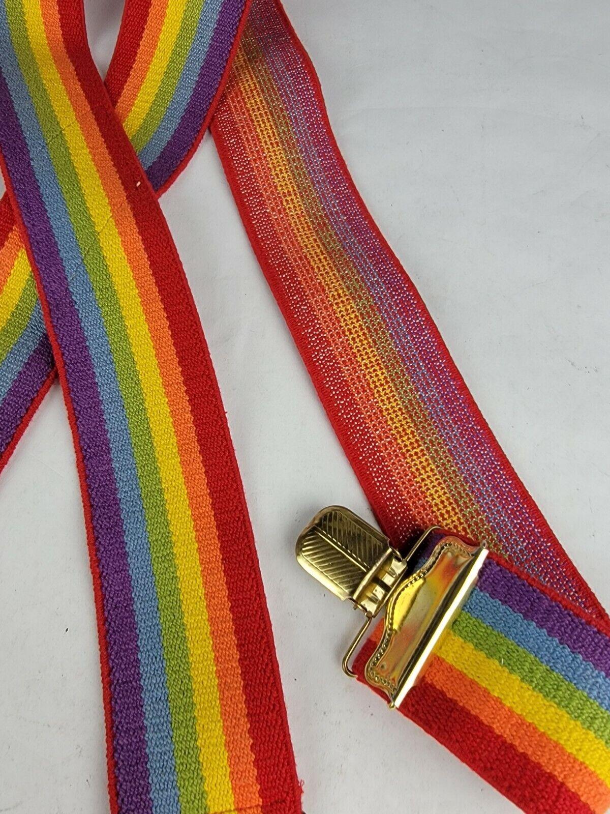 "Vintage 2"" x 35"" Rainbow Suspenders Adjustable Un… - image 7"