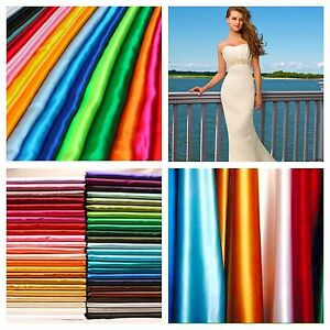 Real-Heavy-Shiny-Bridal-Satin-Fabric-100-Polyester-60-034-Wide-Wedding-Dress