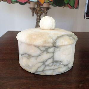 Beautiful Vintage Marble Alabaster Stone Powder Dresser Trinket Box,Antiques