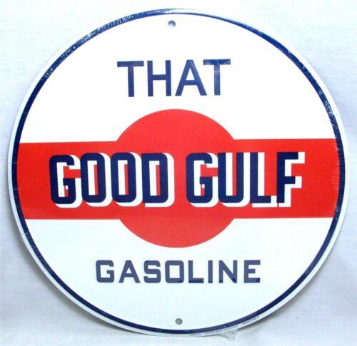That Good GULF Gasoline Oil Service Station Gas Pump 12 Round Metal Retro Sign