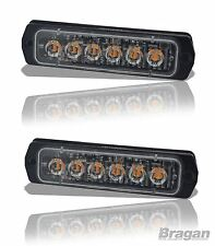 2 x Amber Slim Strobe Flashing LED Lights Recovery Truck Breakdown Lorry Lamps