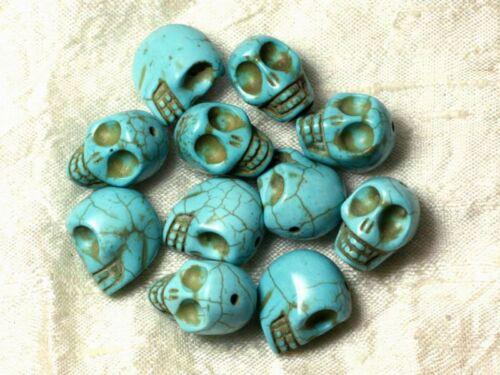Fil 39cm 21pc env Perles de Pierre Turquoise Synthèse Cranes tete de mort 18x1