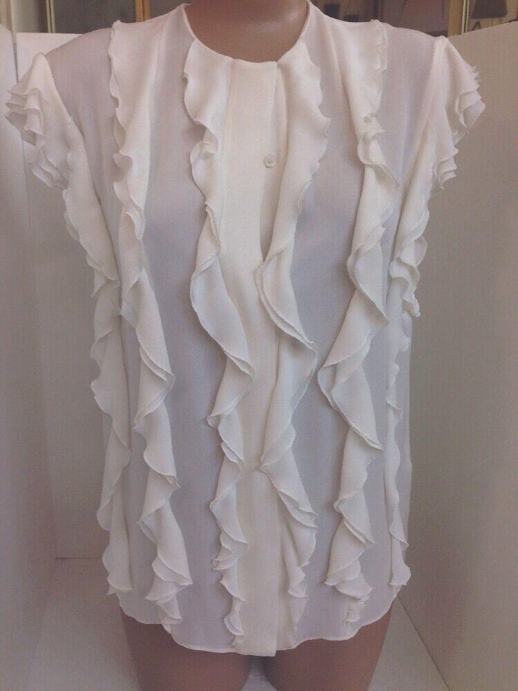 Chloe Blouse Milk White Short Sleeve Ruffle Front Silk Size 34 NWT