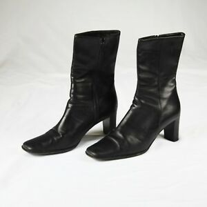 21349e2e339 Coach Bacara Black Genuine Grain Leather Boots Made in Italy Sz 9.5 ...