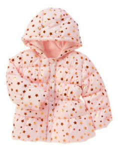 NWT Crazy 8 STAR POWER Pink Polyester Fiberfill Hooded Coat with Gold Star Print