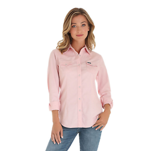 Wrangler-Women-039-s-Solid-Pink-Snap-Up-Western-Shirt-LW2011K