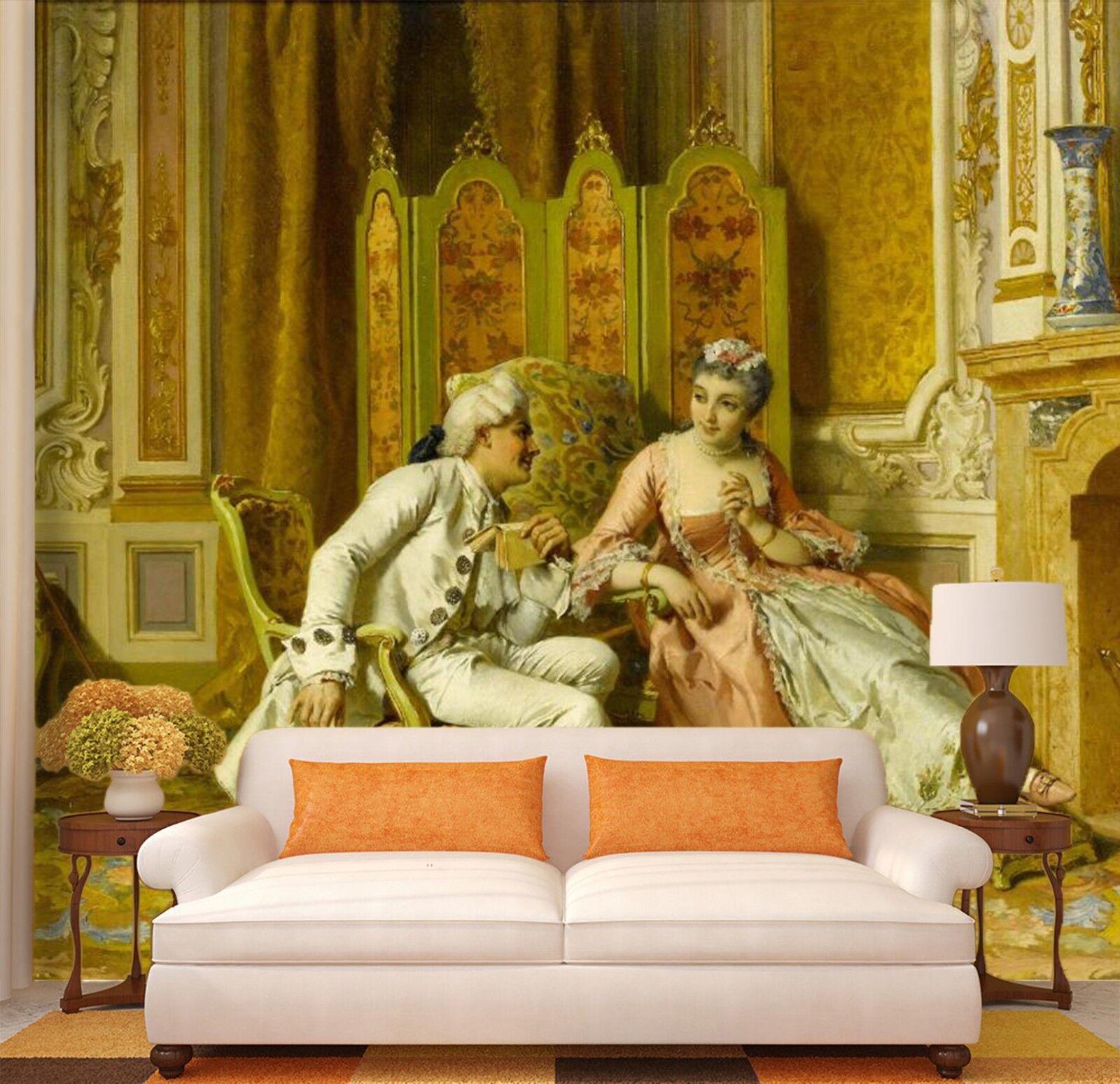 3D Ölgemälde Goldene Halle 7899 Tapete Wandgemälde Tapeten Bild Familie DE Lemon