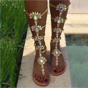 Fashion-New-Womens-Rhinestone-Gladiator-Sandals-Strap-Flat-Flip-Flop-Beach-Shoes