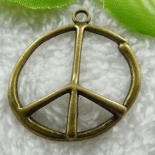 Free Ship 28 pcs bronze plated peace symbol pendant 43x39mm #515