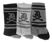 Dissizit 3 Pack Of Old English D X Bones White Gray Black Crew Socks Slick