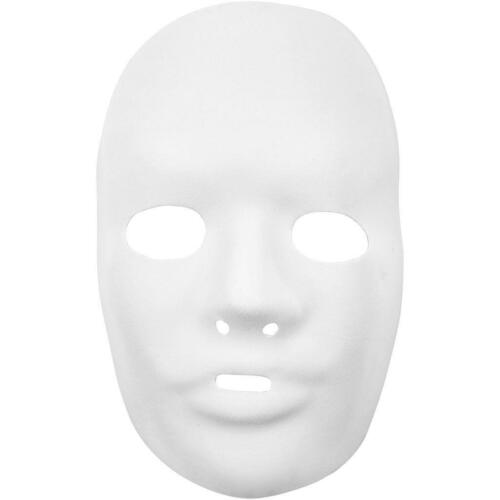 2 x Full Face Form Pressed Plastic Mask  Elastic Headband Paint Decorate 15.5cm