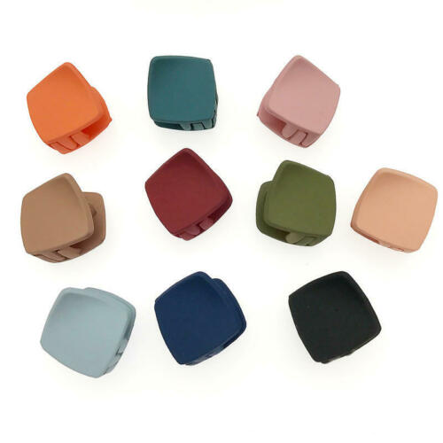 Women Resin Matte Hairpin Solid Color Square Hair Claw Crab Shape Hair Clip