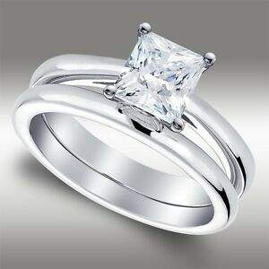 1-54-Ct-Princess-Cut-Solitaire-Lab-Engagement-Ring-amp-Band-set-in-14k-White-Gold