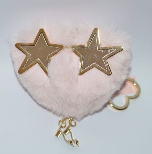 VICTORIA'S SECRET VS FASHION PINK HEART POM STAR EYES PUFF KEYCHAIN CLIP CHARM