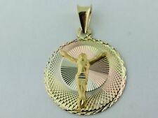 14K Solid Gold Jesus Christ  3 tone. Pendant Charm Dije Medalla de Jesucristo