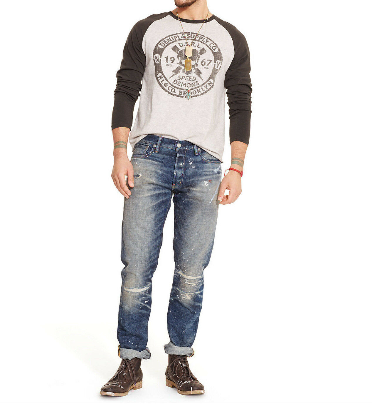 POLO RALPH LAUREN DENIM AND & SUPPLY STRAIGHT PATCHWORK SPLATTER JEANS +