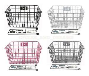 New Bicycle Bike Steel Wire Basket W//Braces 333D Pink