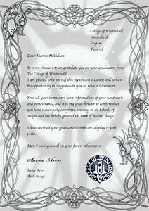 Details about College of Winterhold Graduation Certificate & Graduation  Letter Skyrim