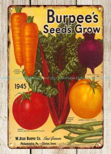 Burpee/'s Seeds Grow 1945 metal tin sign home decor stores
