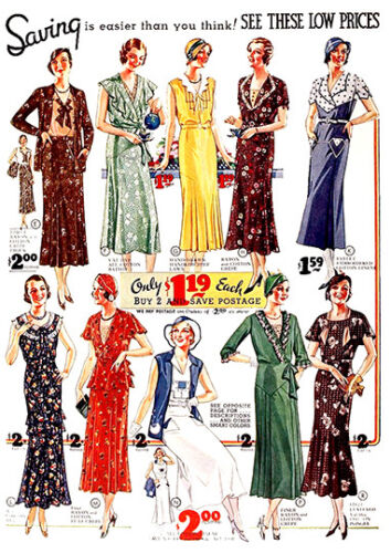Dresses vintage  magazine advert poster reproduction.
