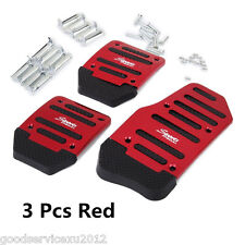 3 Pcs Red Aluminium Alloy Racing Sports Manual Automobiles Non-Slip Foot Pedals