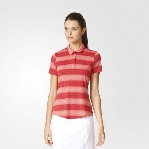 Adidas Womens Melang Stripe Kurzarm Golf Tennis Polo Shirt Sparen Sie 50%!