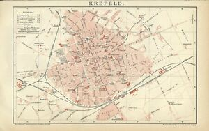Krefeld Karte.1894 Krefeld Mit Strassenregister Deutschland Alter Stadtplan Old