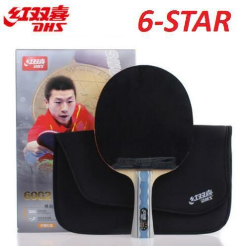 DHS 6 Star Table Tennis Racket PING PONG Paddle 6002 ShakeHand FL Long Handle