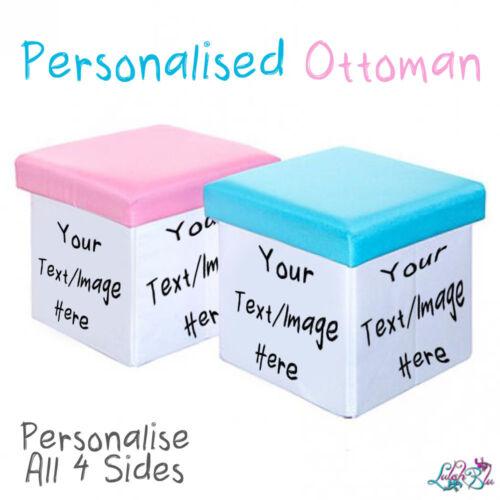 Personalised OttomanPink Or BlueChildren /& Baby GiftsStorage Box Seat