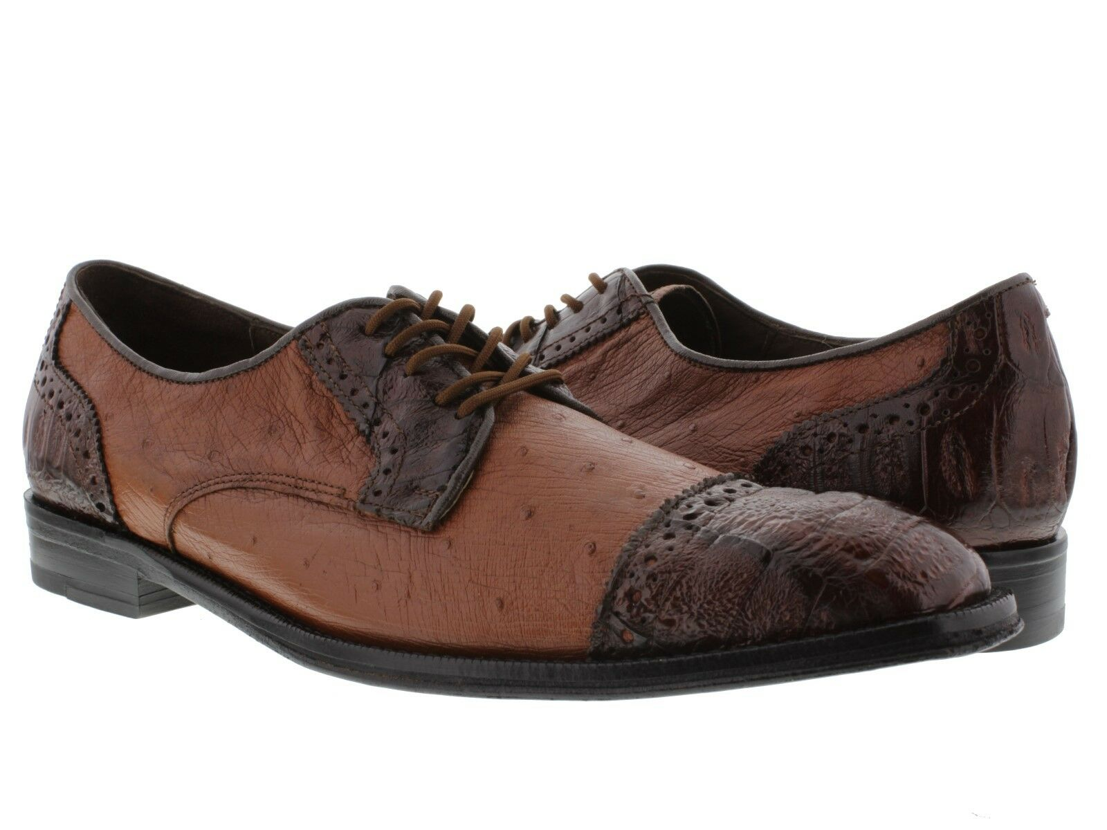 Mens Cognac Brown Crocodile Ostrich Dress shoes Real Exotic Skin Leather Oxfords