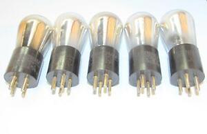 5-Identical 1925 Cunningham Globe CX-301A 01-A radio tubes.TV-7 test @ NOS specs