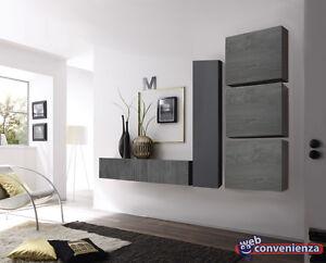 Soggiorno Mobili Scuri : Parete attrezzata cube mobile soggiorno rovere grigio e grgio