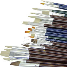 25Pcs Artist Acrylic Nylon Hair Watercolors Oil Painting Supplies Paint Brushes