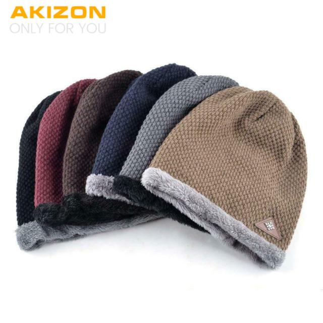 Akizon Beanie Hat Cap autunno e inverno caldo Knit One Size Unisex Tinta Unita