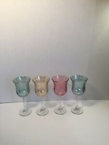 Iridescent-Swirl-Wine-Water-Stemware-Glasses-Set-Of-4-Two-Green-1-Pink-1-Yellow