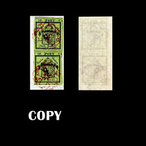 Geneva-s-1843-Cantonal-Over-Fragment-5c-Green-Vertical-Pair-6-96000-Replica